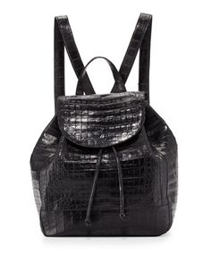 Crocodile+Drawstring+Backpack,+Black+Matte+by+Nancy+Gonzalez+at+Neiman+Marcus.