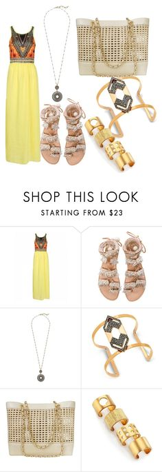 """tribal dress"" by claudialogan ❤ liked on Polyvore featuring Elina Linardaki, Lucky Brand, Steve Madden, Chanel, Kelly Wearstler, tribalbracelet, tribalnecklace, tribaldress and tribalring"