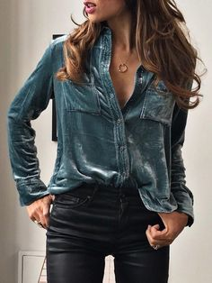 Love the velvet look of this button down blouse.