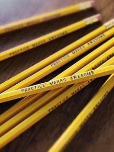 Practice Makes Awesome Pencil 6 Pack Yellow by Earmark on Etsy, $8.50