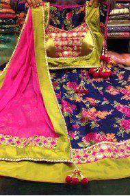 Silk Net and Bhagalpuri Party Wear Lehenga Choli in Blue and Green Colour