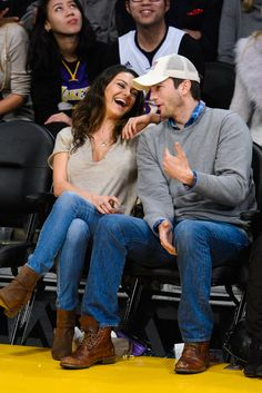 MILA KUNIS AND ASHTON KUTCHER | The Cutest Celebrity Couple PDA Moments  - ELLE.com