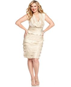 $75 Jessica Howard Plus Size Dress, Sleeveless Pleated Empire Waist Tiered Cocktail Dress