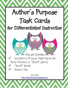Author's Purpose Task Cards. #teaching authors purpose #teaching-authors-purpose #authors purpose #authors-purpose #comprehension #language arts #language-arts