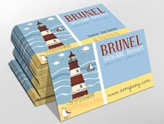Traditional business card design, ideal for seaside resorts. Customise a range of business card templates online for print at www.brunelone.com/premium-business-cards/designs
