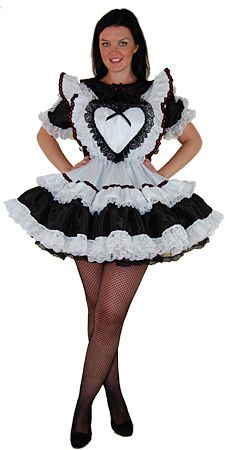 1005 Daisy Maid - frilly sissy maid dress with loveheart bib and sweetheart neckline