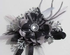 Black Lace & Silver Wrist Corsage for Prom Ready to by justanns