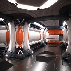 Science-Fiction-Architektur - sci fi spaceship corridor max by cermaka - Futuristic Architecture Spaceship Interior, Futuristic Interior, Futuristic City, Futuristic Architecture, Sci Fi Environment, Environment Design, Science Fiction, Laser Tag, Arte Sci Fi