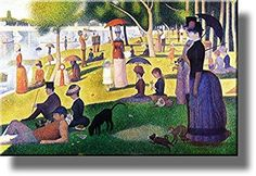 Sunday Afternoon on the Island of La Grande-Jatte by Georges Seurat Picture on Stretched Canvas, Wall Art Decor, Ready to Hang!