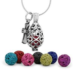"Premium Teardrop Lava Stone Aromatherapy Essential Oil Diffuser Necklace Locket Pendant Gift Set with 24"" Chain and Multi-Colored Beads. Multi-Colored LAVA STONE (8mm) - This reusable, highly absorbent round lava stone provides the best way to diffuser essential oils on the go. 