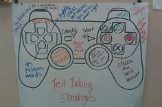 "Test taking strategy poster for elementary school classroom. Traced a game controller so they can ""TAKE CONTROL OF THE TEST"". The strategies were brainstormed with the students. Very engaging. I love this!!"