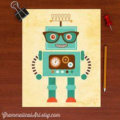 Cute Robot Poster Tesla Science Robot Poster Boy by GrammaticalArt, $18.00