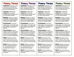 Poetry Terms Bookmarks - Figurative Language Devices (1$)