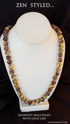Beautiful Mala Beads with gold leaf.