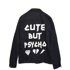 CUTE BUT PSYCHO JACKET ($105) ❤ liked on Polyvore featuring outerwear, jackets, tops, shirts, jean jacket, oversized denim jacket, denim jacket, oversized jackets and oversized jean jacket