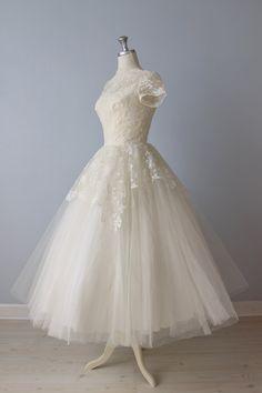 RESERVED Tea Length Wedding Dress / 1950s Wedding Dress / Cahill Wedding Dress / Church Bells. $318.00, via Etsy.