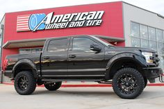"Fuel Offroad Maverick Wheels in Matte Black Milled on a lifted 2015 Ford F150. 6"" Pro Comp lift kit, 20x10 with 35/12.50-20 Toyo tires and paint matched Bushwacker fender flares. http://www.americanwheelandtire.com/houston-wheels/Fuel-Offroad/"