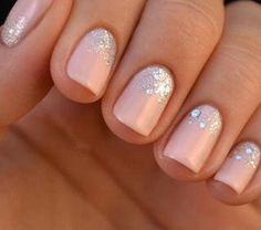 Baby Pink Mani with Glitter ♡
