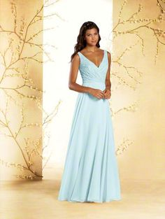 Alfred Angelo Style 542: V-neck lace long floor length bridesmaid dress