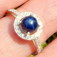 sz 7Genuine Blue Star Sapphire Sterling by JanesGemCreations, $59.00