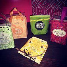 Mini gift bags from {chunk!} bar wrappers.  facebook.com/poshbyallisonbell