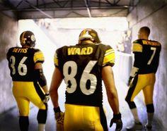 Pittsburgh Steelers~Bettis, Ward, Roethlisberger, awesome photo taken by Duane Rieder Pittsburgh Steelers Players, Pittsburgh Steelers Football, Pittsburgh Sports, Best Football Team, Football Baby, Broncos, Here We Go Steelers, Steelers Stuff, Steelers Gear