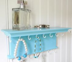 "Jewelry Organizer 12"" Necklace Bracelet Holder - Wall Mounted Necklace Hanger - Aqua Blue - Wood - Handmade"