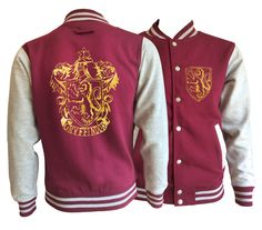 Vintage style Harry potter Inspired Gryffindor House varsity jacket with gold emblem in front and back. by iganiDesign on Etsy Styles Harry, Harry Potter Style, Harry Potter Outfits, Harry Potter Jacket, Style Vintage, Vintage Fashion, Moda Geek, Varsity Jacket Outfit, Lady Fit