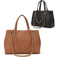 """Crocodile material large capacity tote available in 2 colors   Material: PU leather Color: Black, Brown Net Weight: 749g Size:36 x 28 x 11cm-14.04x10.92x4.29"""""""