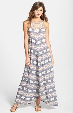Lucky Brand Crochet Detail Print Maxi Dress available at #Nordstrom