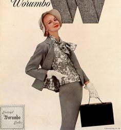 1955 Sunny Harnett in gray Worumbo flannel suit by Harry Frechtel, Harper's Bazaar.