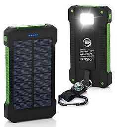 Solar Charger10000mAh Solar Power Bank Dual USB Port Portable ChargerSolar Battery Charger for IPhoneiPadiPodCell PhoneTabletCameraRain-Resistant Dust-Proof and Shockproof (green): Cell Phones & Accessories