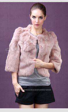 100% Real Genuine Rabbit Fur Coat Clothing Wearcoat Jacket Women Vintage 4 Color | eBay