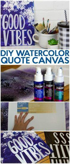 DIY Watercolor Quote Canvas