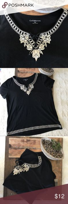 Croft & Barrow Black Top with Embroidered Detail Croft & Barrow Black Top with Embroidered Detail - Size XL Super cute tie detail in front. Can be dressed up or down. EUC - No Stains or Tears. croft & barrow Tops