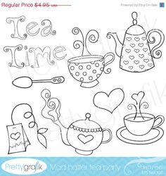 80 OFF SALE tea set digital stamp commercial by Prettygrafikdesign