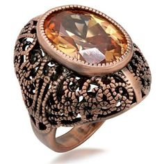Chocolate Gold Deco Cocktail Ring Peach Champagne Cubic Zirconia Brown Size 8 9 #Unbranded #Cocktail