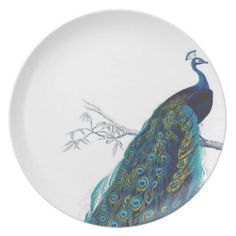 Blue Peacock with beautiful tail feathers Party Plates