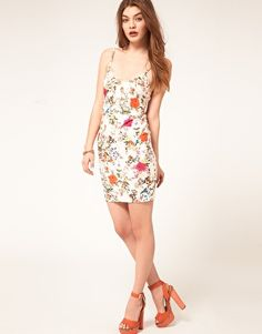 Enlarge ASOS Body-Conscious Dress In Bird And Floral Print
