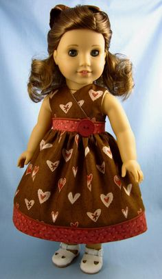 18 Inch Doll Clothes  - Valentine Sundress and Hair Bow in Mocha and Coral Heart Print - Fits American Girl