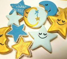 Twinkle Twinkle Little Star Baby Shower Cookies-Stars & Moons TheIcedSugarCookie.com Kessa Cakes