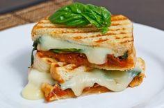 Mozerella, pesto and tomato grilled cheese