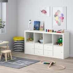 IKEA - KALLAX, Shelf unit with 4 inserts, white, Two people are needed to assemble this furniture. Etagere Kallax Ikea, Ikea Kallax Shelf Unit, Ikea Shelves, Kids Room Shelves, Kids Shelf, Ikea Playroom, Toddler Playroom, Playroom Storage, Playroom Design