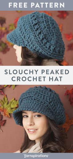 This slouchy crochet hat pattern features a fun textured stitch design.  Crochet it with Bernat 4e4e4e15a6ab