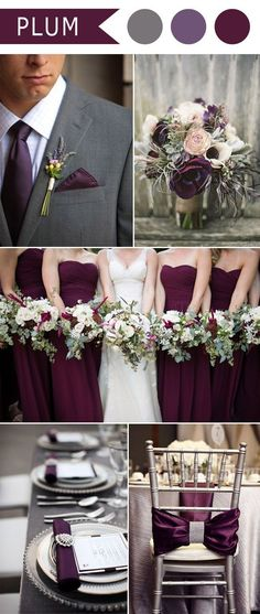 Love these colors!!! So pretty for mid summer!  plum purple and grey elegant wedding color ideas