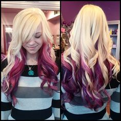 Violet ombre in blonde hair