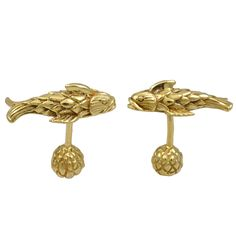 TIFFANY SCHLUMBERGER Figural Fish Cufflinks | From a unique collection of vintage cufflinks at http://www.1stdibs.com/jewelry/cufflinks/cufflinks/