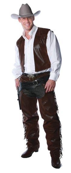 Men's Cowboy Vest And Chaps Costume