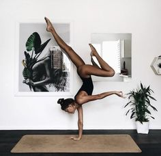 """Repeat after me: """"I am blessed. I have an abundance of energy, courage and resilience. I am rich in…"""". The strength you have to have to able to do a one hand head stand. Yoga inspiration. Love the idea of doing yoga in a leotard, would be so comfy. Yoga / workout clothes."""