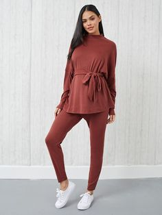 Maternity Drop Shoulder Belted Tee With Leggings Pajama Set Maternity Pajama Set, Maternity Lounge Wear, Maternity Clothing, Pj Sets, Fashion News, Pajamas, Ruffle Blouse, Leggings, Tees